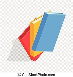 Drei Bildungsbücher isometrische Ikonen.