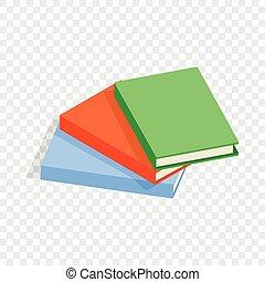 Drei dünne Bücher isometrische Ikone.
