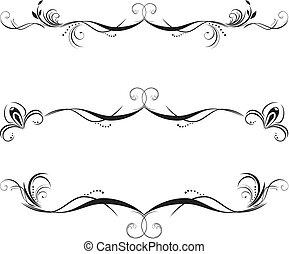 Drei dekorative Blumengrenzen