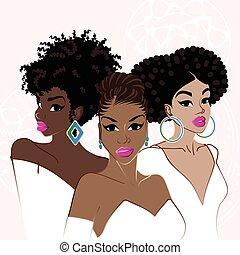 Drei elegante, dunkelhäutige Frauen