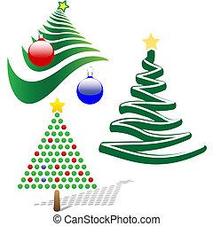 Drei fröhliche Weihnachtsbaum-Elemente