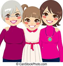 Drei Generationen Familienfrauen.