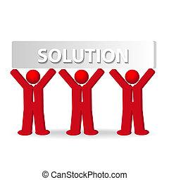 Drei Geschäftsmänner arbeiten im Team, Lösungskonzept.