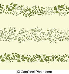 Drei grüne Pflanzen, horizontale, nahtlose Hintergrundmuster