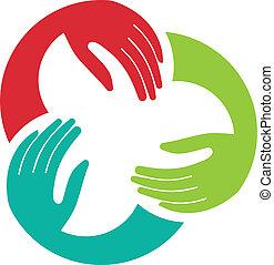 Drei Hände Gewerkschafts-Logo.