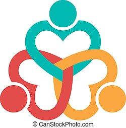 Drei Herzen lieben das Logo der Menschen.