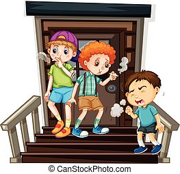 Drei Jungs rauchen Zigaretten auf der Treppe.