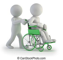 Drei kleine Leute - Rollstuhl.