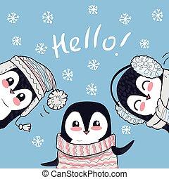 Drei kleine Pinguine sagen Grüße. Hallo Banner