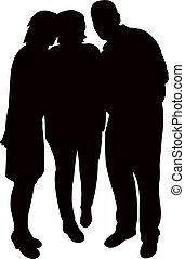 Drei Leute zusammen, Silhouette Vektor.
