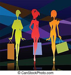 Drei Mädchen Silhouette mit Taschen.