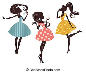 Drei Modemädchen.