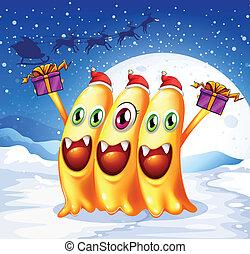 Drei Monster feiern Weihnachten
