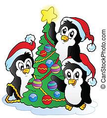 Drei Pinguine mit Weihnachtsbaum