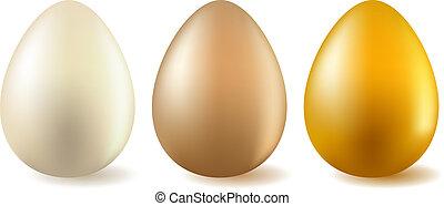 Drei realistische Eier
