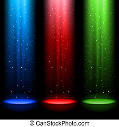 Drei RGB Lichtwellen.