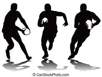 Drei Rugbysilhouette.