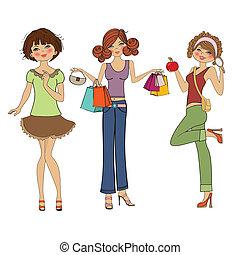 Drei süße Modemädchen