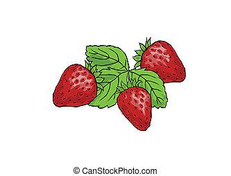 Drei saftige Erdbeeren