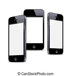 Drei schwarze Smartphones, isoliert auf weißem Hintergrund