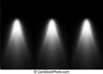 Drei schwarze und weiße Lichtquellen. Vector