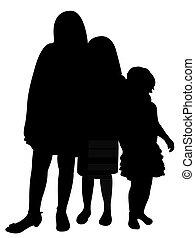 Drei Schwestern zusammen Silhouette.