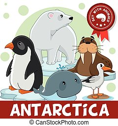 Drei Teil. Tiere der Antarktis.