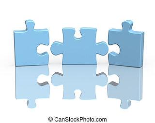 Drei Teile eines Puzzles