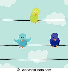 Drei Vögel illustrieren.