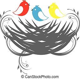Drei Vögel.