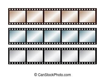 Drei Vintagestreifen mit fünf Rahmen von 35 mm Film.