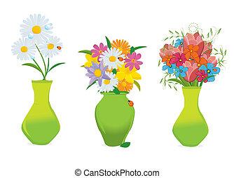 Drei wunderschöne Blumen in farbenfrohen Vasenvektoren