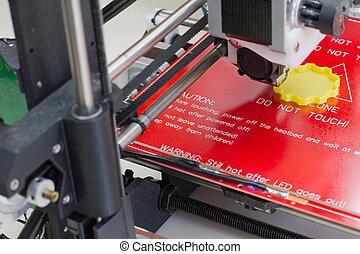 Dreidimensionaler Drucker in Aktion.