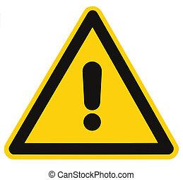 dreieck, gefahr, makro, freigestellt, gefahr- zeichen, warnung, leer