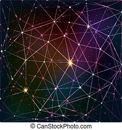 Dreiecksraster auf kosmischem Hintergrund.