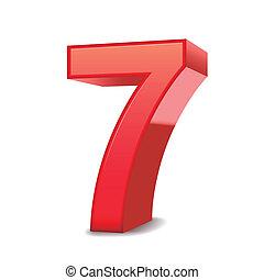 Dreifache rote Nummer 7.
