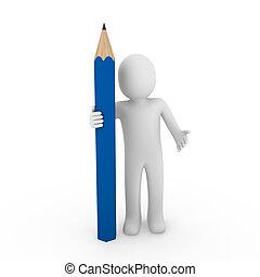 Dreifacher Bleistift blau