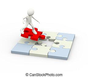 Dreifacher fliegender Mann auf rotem Puzzlestück