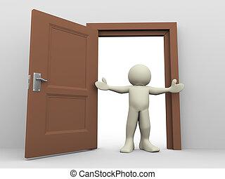 Dreiter Mann und öffnen Sie die Tür