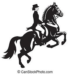 Dressage Reiter schwarzweiß.
