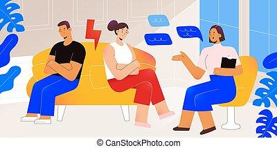 druchbrechen , frau, paar, hilfe, mann, bekommen, psychologe, psychotherapie, beraten, familie, abbildung, sprechende , vektor, psychologisch, charaktere, beziehung, karikatur, patient, modern