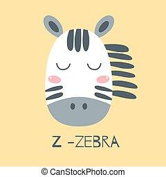 druck, baby, safari, design, abbildung, kinder, reizend, afrikanisches tier, gesicht, kopf, zebra