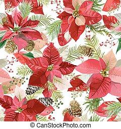 druck, muster, vektor, blumen-, hintergrund, weihnachten, winterblumen, seamless, poinsettia