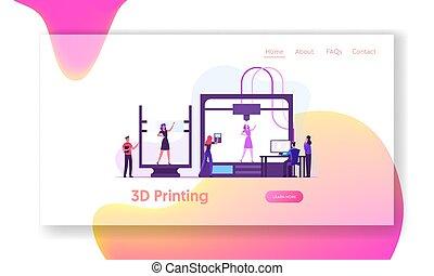 druck, schaffen, modell, abbildung, fortschritt, web, lebend, entwickler, vektor, page., wohnung, seite, karikatur, frau, landung, banner., ingenieure, laboratorium, drucker, modellieren, website, innovation, 3d, gebrauchend