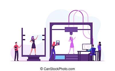 druck, schaffen, modell, abbildung, zusatz, lebend, entwickler, vektor, wohnung, karikatur, frau, ingenieure, drucker, modellieren, laboratory., entwicklung, innovation, 3d, gebrauchend, technologie, fortschritt