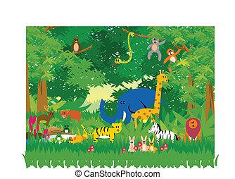 Dschungel in Cartoon