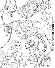 Dschungelwald mit Tieren Cartoon Vektorgrafik