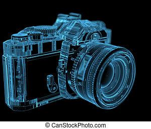 DSLR SLR-Kamera (3D Röntgenbild blau durchschaubar)