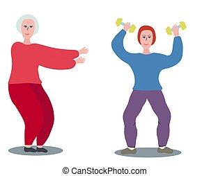 dumbbell., turnhalle, frau, trainieren, senioren