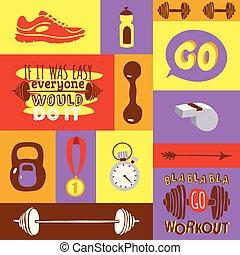 Dumbbell Vektor Fitness-Studio Gewichts-Geräte stumme Glocken-Kessel-Medaille sportliche Schuhe Illustrationen von Hintergrund Bodybuilding schweren barbell Sport-Training Hintergrund.